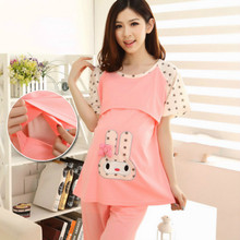 2019 Summer Pregnancy Sleepwear Cartoon Dots Pregnant Nightgown Tops Shorts 2 Pieces Breastfeeding Nightgown Maternity Pajamas
