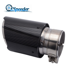 ESPEEDER 1PCS Inlet 54mm Outlet 89mm Carbon Exhaust Tip/Muffler pipe For BMW BENZ AUDI VW Car Accessories 1pc akrapovic 89mm size car modification carbon fiber exhaust muffle pipe for benz bmw audi porsche cadillac honda buick ford