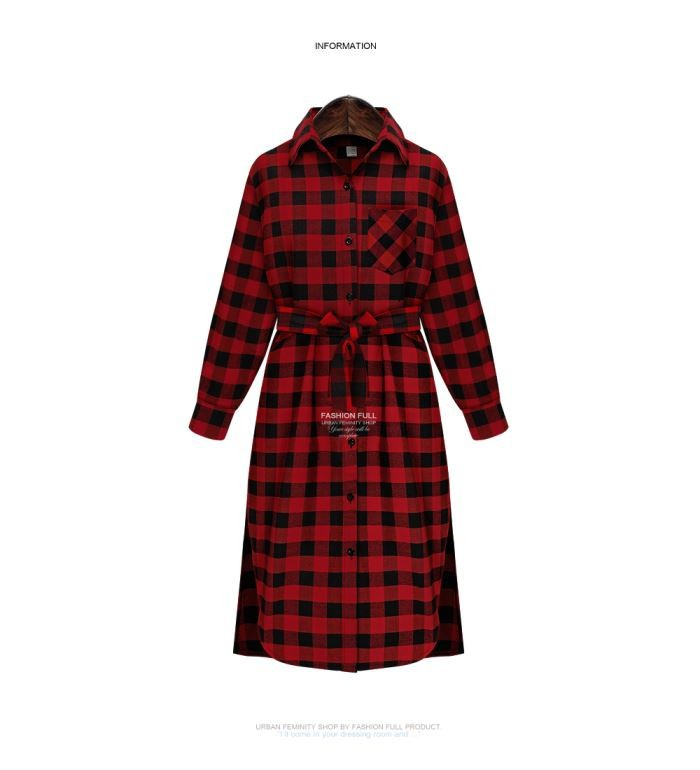 Autumn Plaid Dress Fashion Brand New Ladies Long Sleeve Lapel  T Shirt Dress Women Casual Dress Vestidos  607-8797 (6)