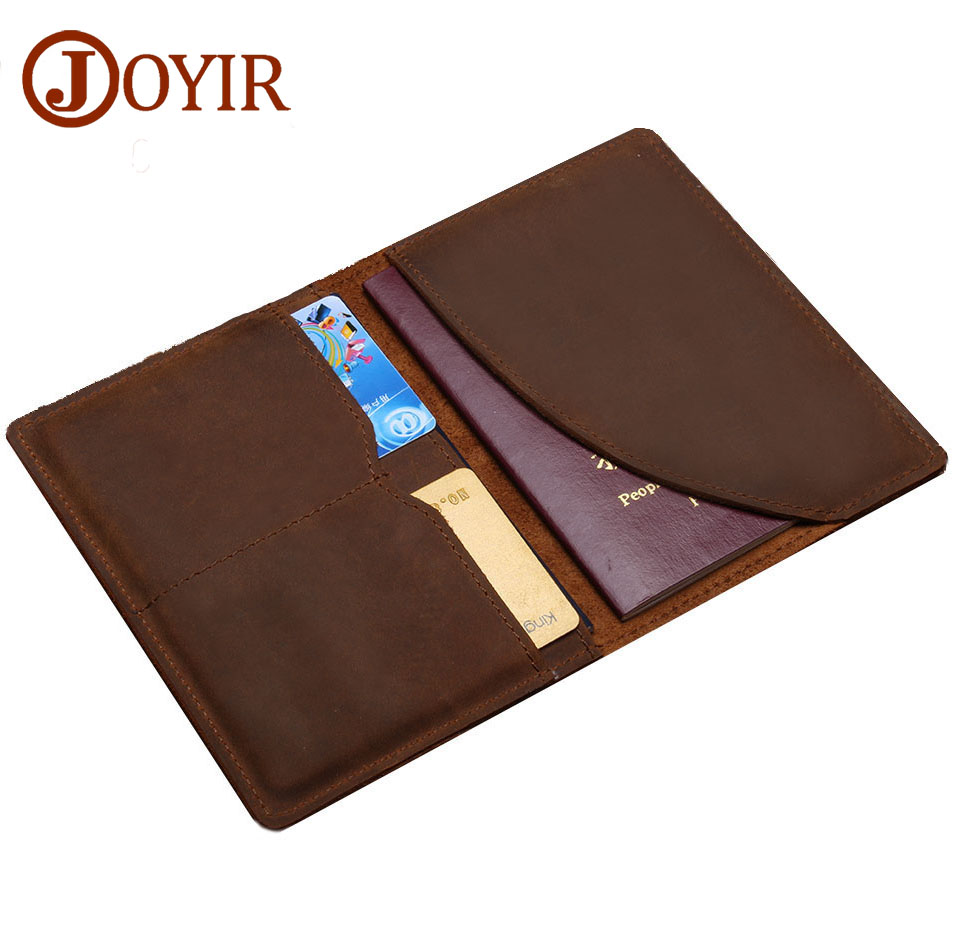 JOYIR Passport Holder Men Genuine Leather Credit Card Holder Rertro Passport Bank and ID Card Holder Thin Wallet joyir men passport cover genuine leather passport holder travel wallet card wallet credit card holder porte carte business male
