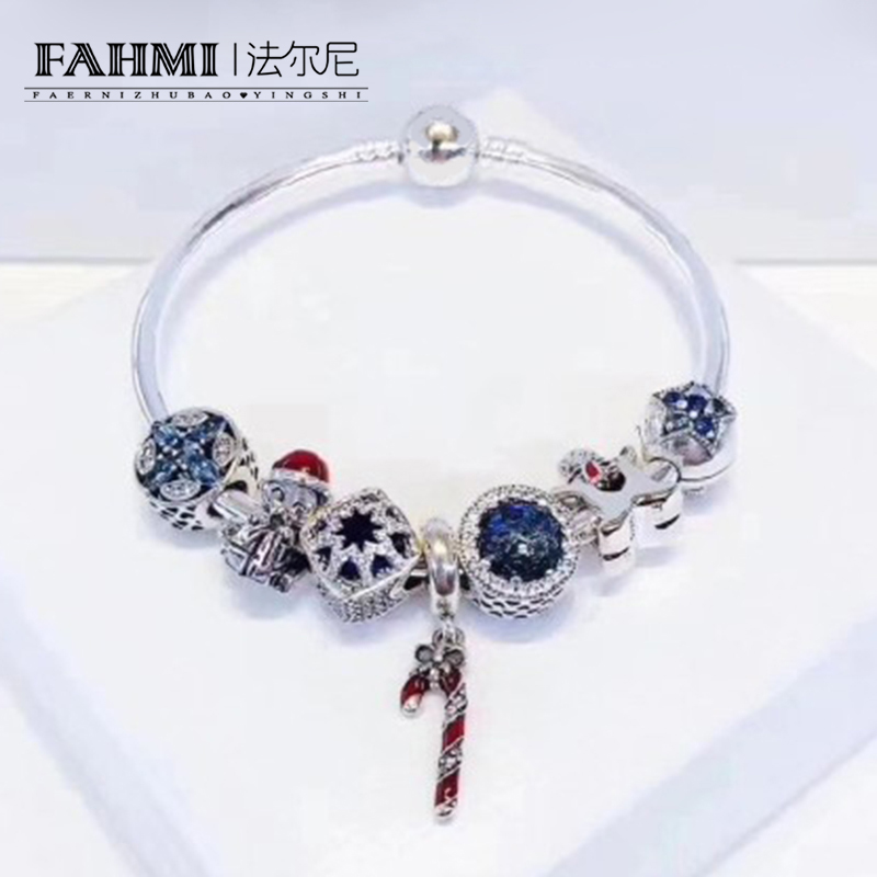 FAHMI 100% 925 Sterling Silver Winter Christmas Bracelet Set Star Moon Cookies People Charm Women Charming Gift Original Jewelry charm moon 2015 100
