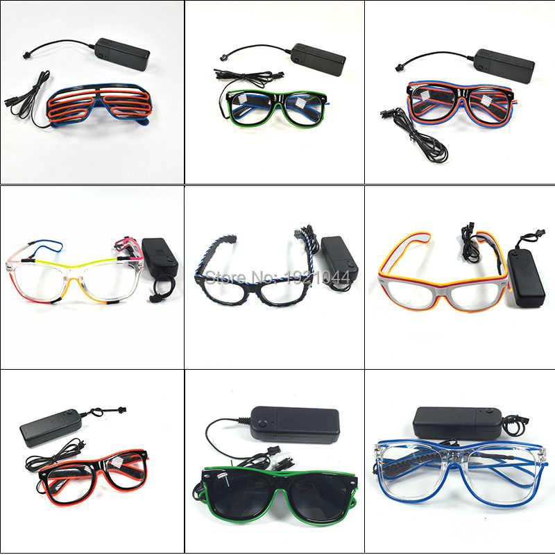El wire LED Luz gafas Neon Glow Fiesta Rave intermitente del obturador sombra Eyewear
