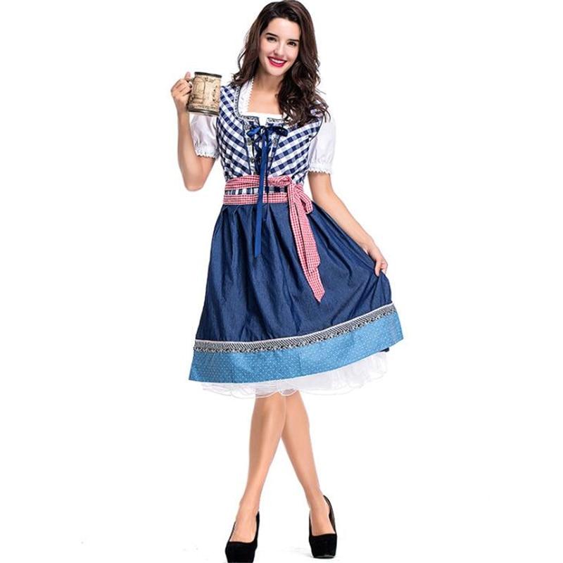 Adult Woman Blue Plaid German Maiden Beer Girl Oktoberfest Festival Party Fancy Dress Costume
