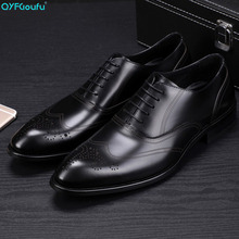 QYFCIOUFU 2019 New formal shoes men high quality Male Dress Shoes Wedding Office Party Oxford Shoe Genuine Leather