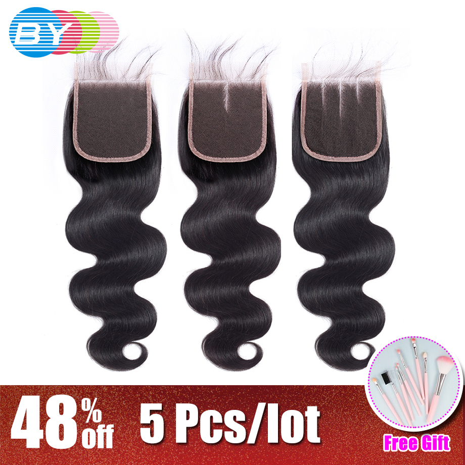 BY Brazilian Human Hair Body Wave 4 4 Lace Closure Natural Color Remy Hair Weaving Lace