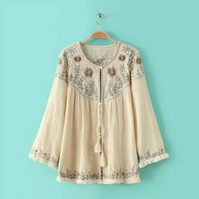 Ethnic Blouse Shirt Women Tops Vintage Tunic Long Sleeve Floral Embroidery Cotton and Linen Tassel Hem Beige Shirts Cardigans