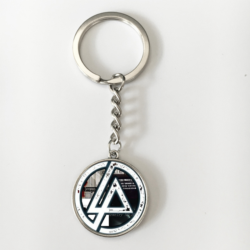 SUTEYI Fashion New American Linkin Park Logo Long Chains Key Holder Glass Cabochon Pendant Key Chains  Keyring Fans Jewelry