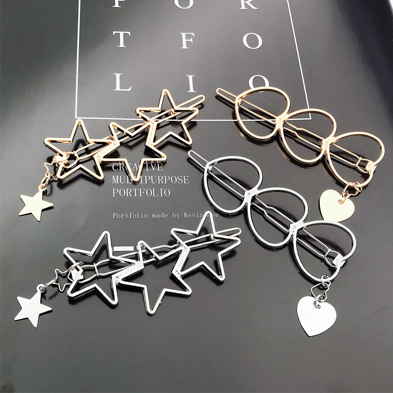 Fashion New Girl Love Five-pointed Star Alloy Clip Bangs Clip Adult Simple Hollow Hairpin Clip Child Woman Hair Accessories