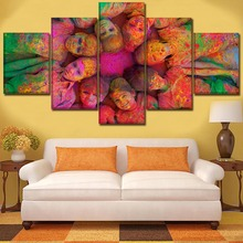Canvas Painting Home Decor Kids Room Wall Art Picture Framework 5 Pcs Holiday Child Colors Holi Psychedelic Poster HD Print