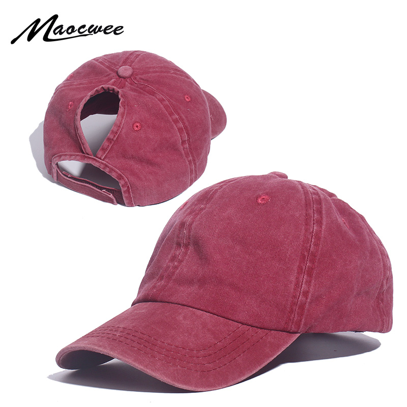 Ponytail Baseball Cap Messy Bun Hats For Women Washed Cotton Snapback Caps Casual Summer Sun Visor Female Outdoor Sport Hat