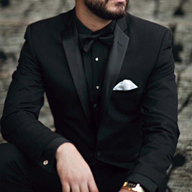 37259ce87644a Negro hombres ropa formal terno masculino personalizado hombres traje slim  fit traje hombre boda Trajes para