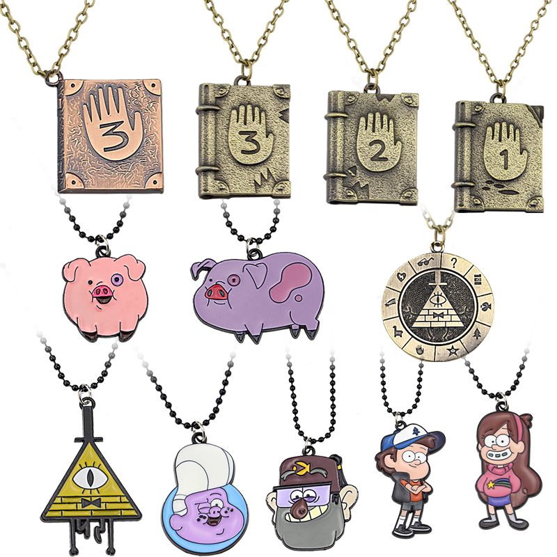 Gravity Falls Journal 3 Diepsloot Diary LOGO Necklace Dipper Mabel Stan Pig ball Pendant Necklaces Children