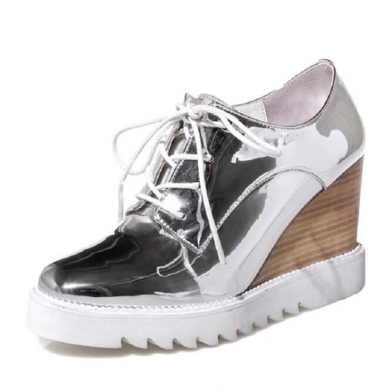 Sliver Metallic Patent Leather Women Oxfords Wedge Shoes Woman Spring Creepers Casual High Heels Shoes For Ladies US 10 bling patent leather oxfords 2017 wedges gold silver platform shoes woman casual creepers pink high heels high quality hds59