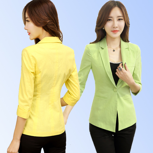 Womens Yellow Blazer Summer Style Jacket Spring And Autumn