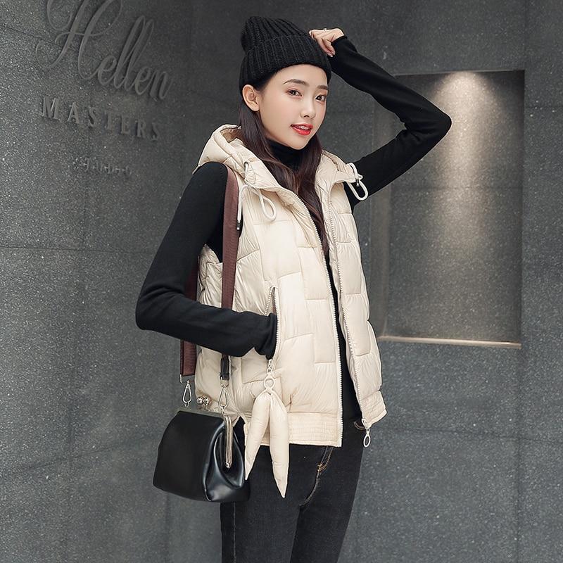 Women Vest Winter Jacket Pocket Hooded Coat Warm Casual Cotton Padded Vest female Slim Sleeveless Waistcoat in Vests amp Waistcoats from Women 39 s Clothing