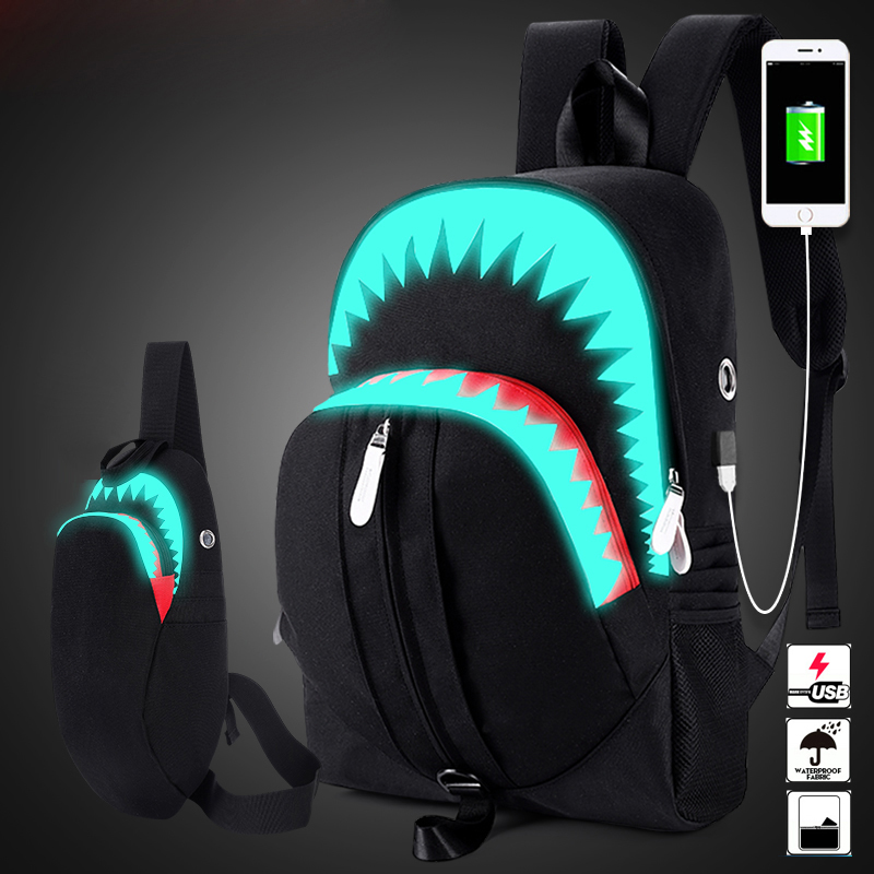 Men Fashion USB Charging Night Luminous Backpack Shark Laptop Backpack Chest Bag Teenagers School Bag Mochila Travel Bag Black