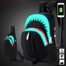 Мужской модный Светящийся рюкзак с USB-зарядкой, нагрудная сумка для ноутбука с акулой, школьный ранец для подростков, дорожная черная сумка