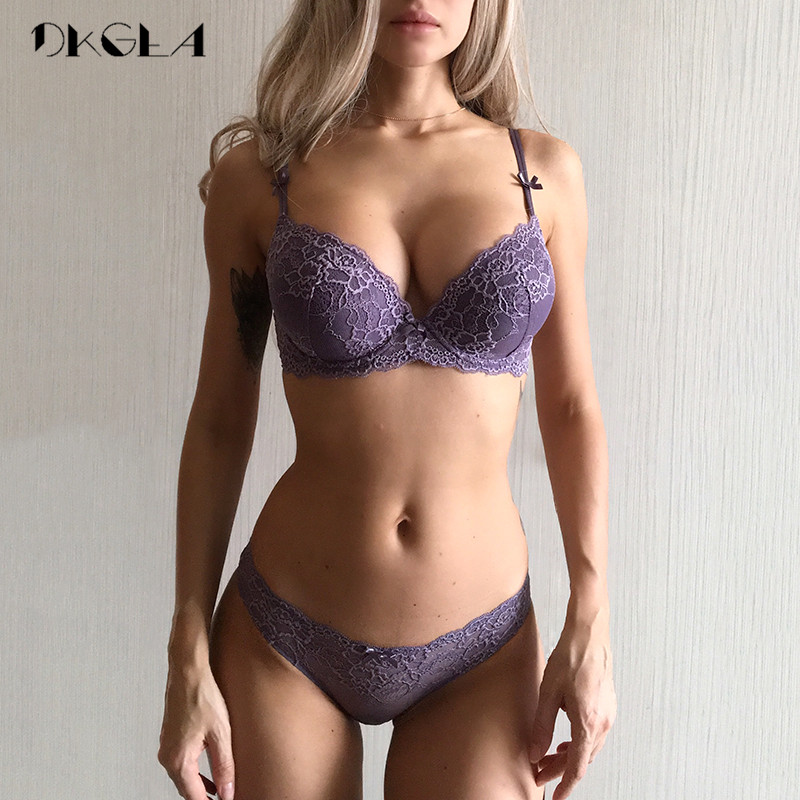 Super Gather Purple   Bras   Women Underwear   Set   Cotton Brassiere Thick Deep V Push Up   Bra     Set   Sexy Embroidery Lace Lingerie   Sets