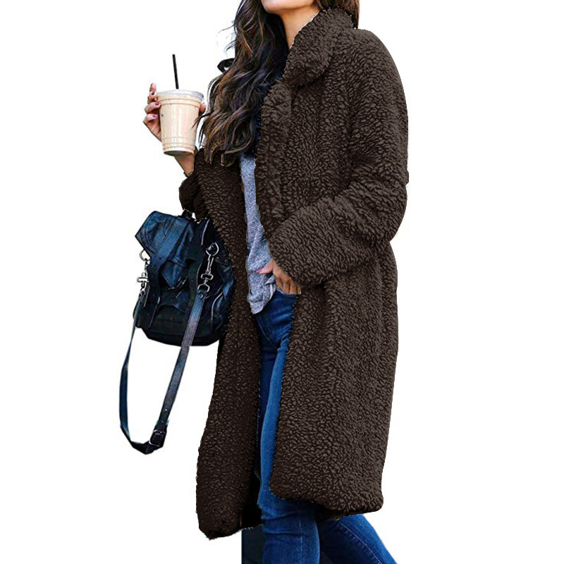 Long Coats Fleece Jackets Winter Warm Teddy Coat Cardigan Office Lady Sexy Women Wool Blends Full Tops Overcoats Plus Size 5