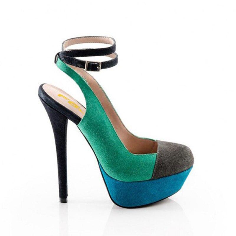 Pompes Stiletto Automne Printemps Talon La Cheville Vert Chaussures Femmes Bleu Plus 2018 Fsj01 Talons Taille 44 À Fsj Bride Dames Et 45 46 a80t8Zq