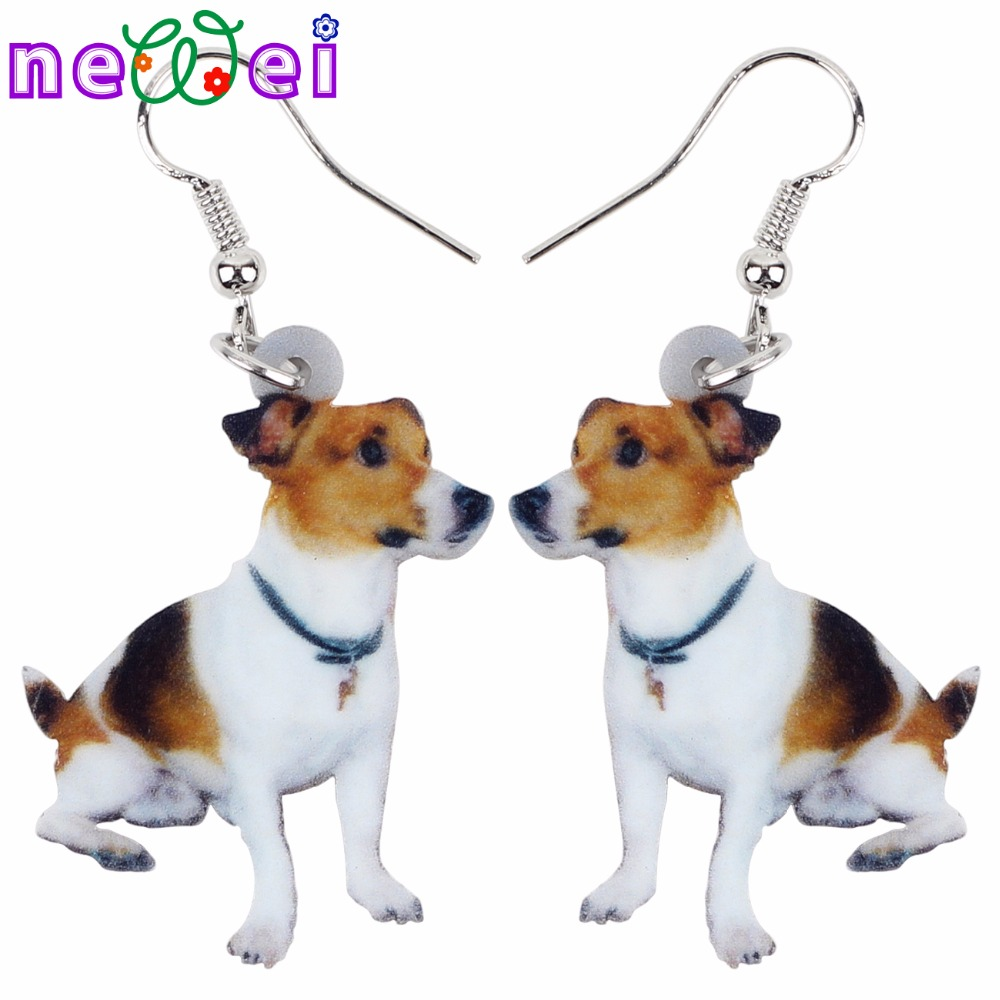 NEWEI Drop Acrylic Jack Russell Dog Earrings Big Long Dangle Animal Jewelry For Girls Women Ladies Cheap Accessories 2018 News