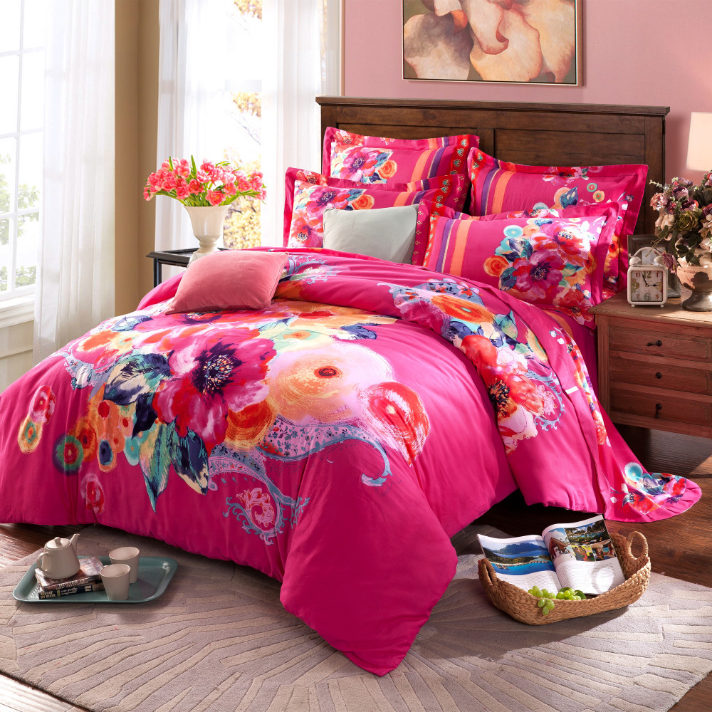 Twin Full Queen Size 100 Cotton Bohemian Boho Style Colourful Comforter Sets Pink Bedding S Modern In From Home