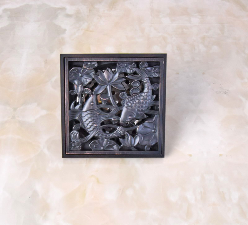 Black Oil Rubbed Antique Brass Carved Double Fish Pattern Bathroom Shower Drain 4 Square Floor Drain Waste Grates ahr039 cute fish pattern waterproof shower curtain multicolored