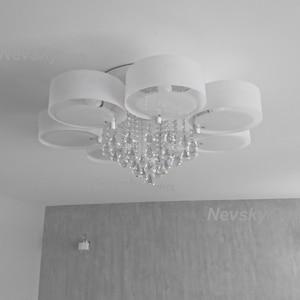 Image 3 - Plafonnier led en cristal, design moderne, design à la mode, luminaire de plafond interchangeable, abat jour blanc, idéal pour une chambre à coucher, une salle à manger ou une chambre à coucher