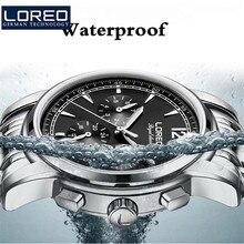 LOREO Watches Men Army Waterproof Watch Full Steel Sport Military Men Wristwatch Sapphire Automatic Mechanical Wristwatch J95