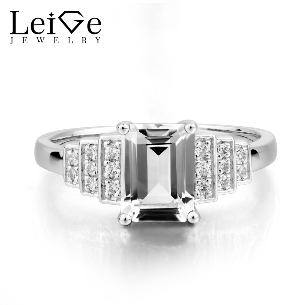 Leige Jewelry Engagement Ring Natural White Topaz Ring November Birthstone Emerald Cut Gemstone Solid 925 Sterling Silver Ring leige jewelry real natural white topaz ring wedding ring pear cut gemstone november birthstone solid 925 sterling silver ring