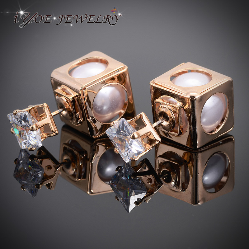 Женские Двухсторонние серьги IYOE, большие серьги-гвоздики с искусственным жемчугом и квадратным кристаллом, уникальный дизайн, ювелирные из...