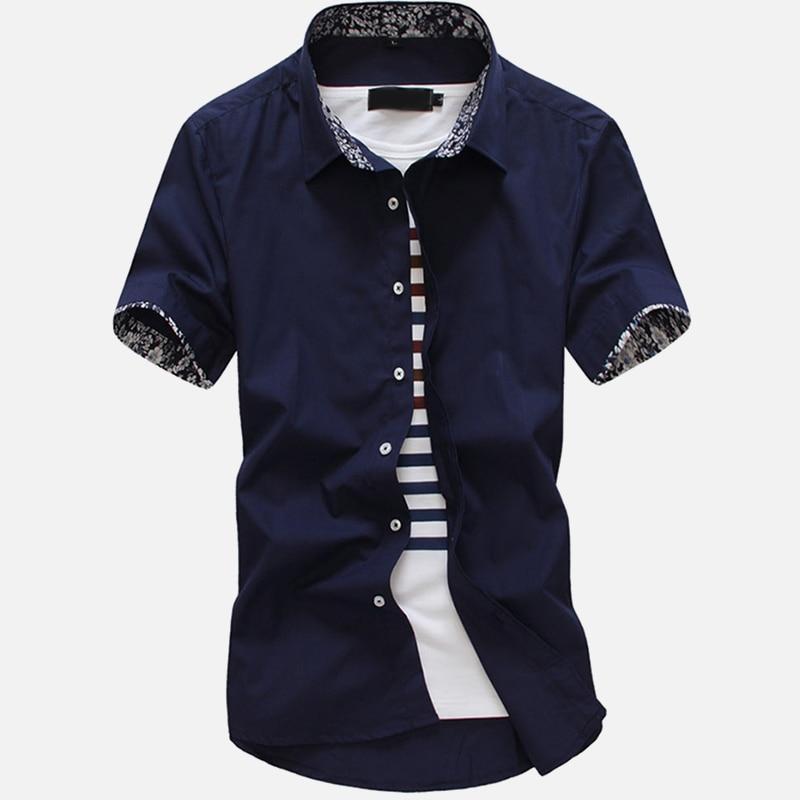 Men's Short Sleeve Dress Shirt Top Black Blue Turn Down Collar Slim Fit Man Business Shirts Streetwear Summer Male Tops Clothes