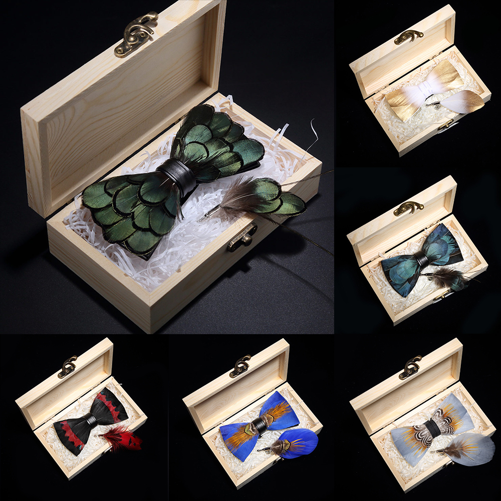 KAMBERFT Design Handmade Feather Bow Tie Brooch Wooden Box Set High Quality Men's Bowtie Leather Tie For Wedding Party Banquet