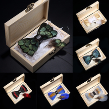 KAMBERFT design handmade feather bow tie brooch wooden box set high quality mens bowtie leather tie for wedding party banquet