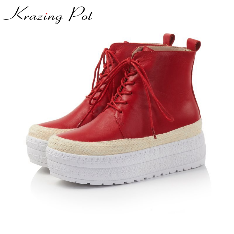Krazing Pot cow leather winter high heels round toe lace up fashion Chelsea boots wedges platform leisure mild-calf boots L66 krazing pot 2018 new arrival genuine leather square toe high heels fashion winter shoes handmade zipper women mid calf boots l30