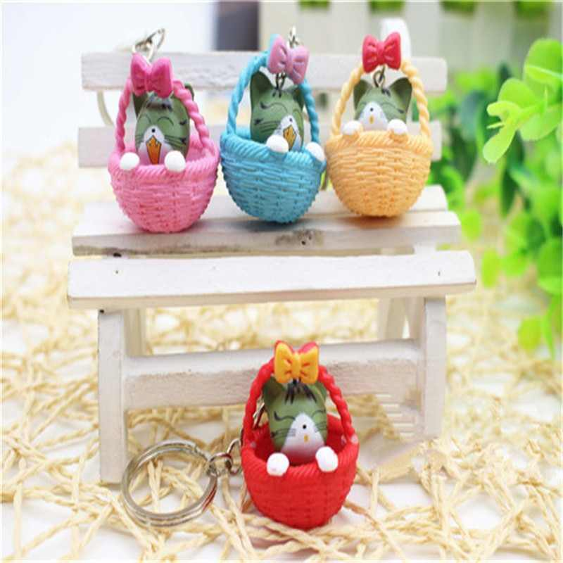 4pcs/lots Random Mixed Color Cartoon Cute Basket and Cat Key Rings Chains Pendant Ornament For bag car Keychain