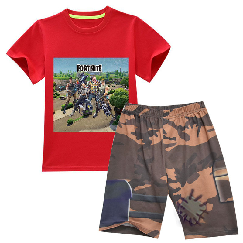4-14 Years Game Fortnite Summer Casual Children Set 3D Print T-Shirt + Knee Length Shorts Set Kids Boys Girls Suit Clothing Set