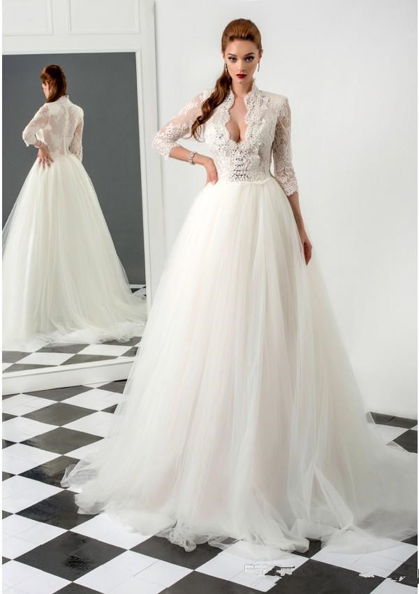 Popular v neck high collar wedding dress buy cheap v neck for High collared wedding dress