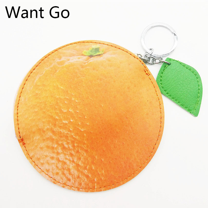 Want Go Girls Cartoon Fruit Coin Purse Kawaii Orange Coin Bag Zipper Small Pouch Child Mini Leather Wallets Purse Key Storage