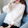 Women 's new autumn 2017 large size shirt bottoming shirt women' s long sleeve lace shirt