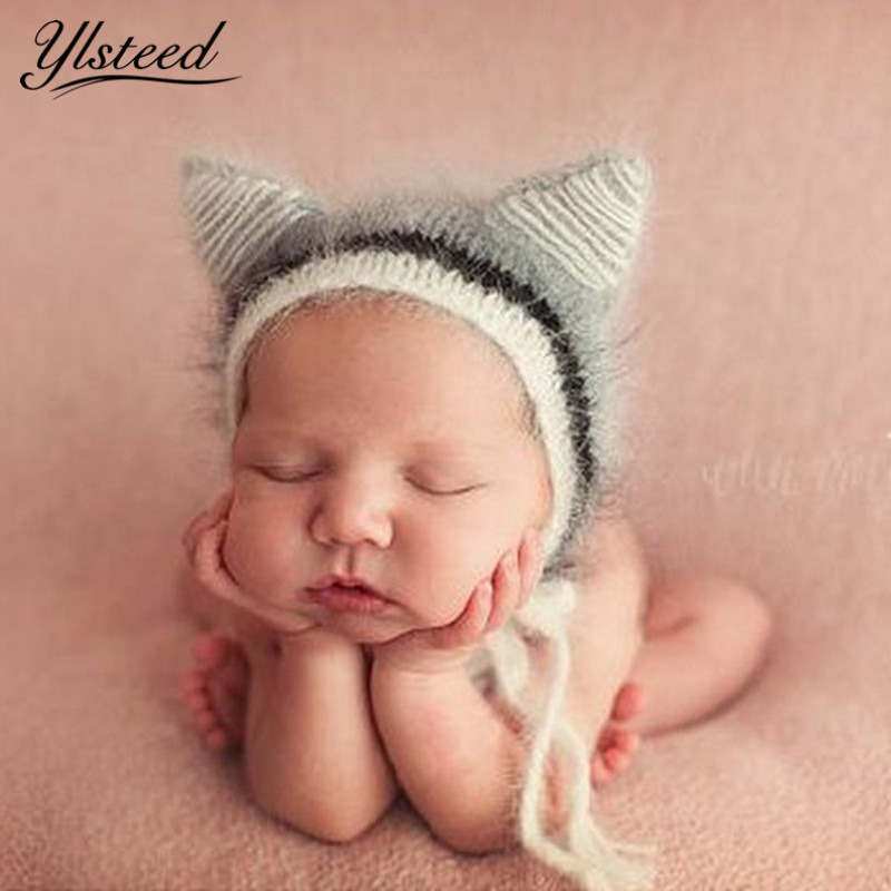 New Crochet Mohair Baby Hat Kawaii Animal Baby Cap Knitted Baby Boy Photo Props Newborn Photography Accessories ...