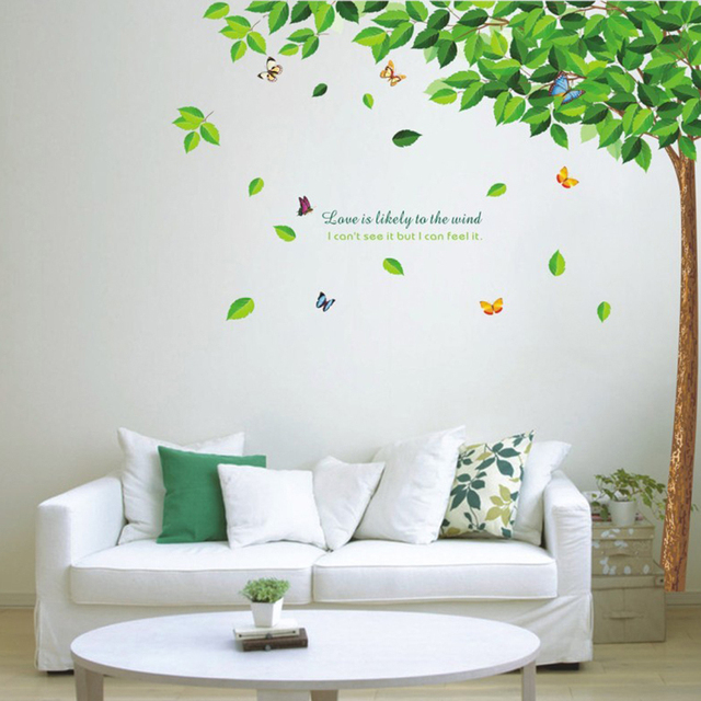 Green Tree and Butterflies Wall Sticker