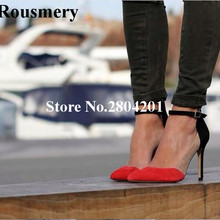 Rousmery Concise Stylish Office Shoes Women Sexy One Buckle Strap Shallow Pointed  Toe High Heel 12 01dc906afcd8