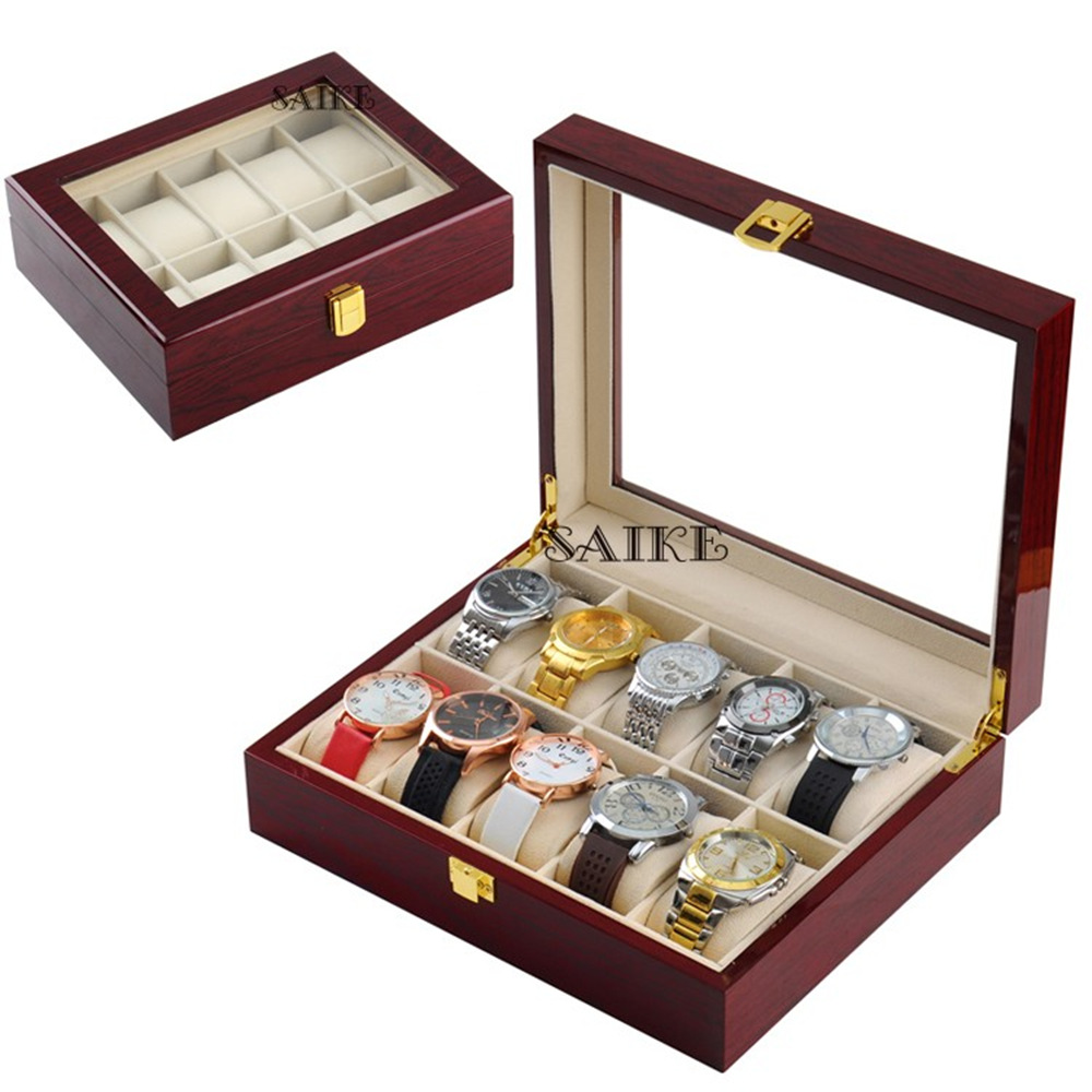 10 fentes bois montre boîtes d'affichage rouge haute lumière en bois montre organisateur bijoux stockage cadeau étui titulaire