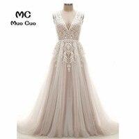 2018 A Line Свадебные платья с кружевной аппликацией; Robe de mariage спинки тюль платье vestido de noiva количество поезд Свадебные платья