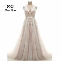 2018 A Line Wedding Dresses with Lace Appliques Robe de mariage Backless Tulle vestido de noiva Count Train Bridal Gowns