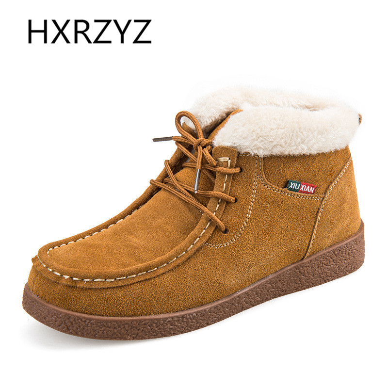 HXRZYZ women ankle boots plus cotton warm winter snow boots 2017 autumn new fashion lace-up suede genuine leather women shoes front lace up casual ankle boots autumn vintage brown new booties flat genuine leather suede shoes round toe fall female fashion