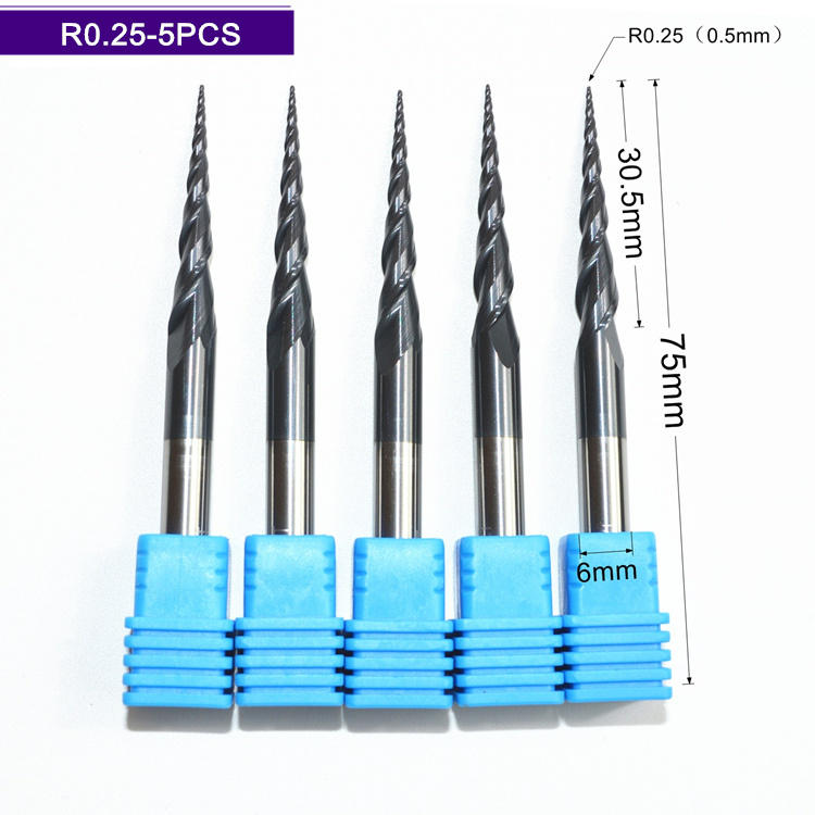 Free shipping-5PCS,R0.25*D6*30*75L,HRC55 Tungsten solid carbide TiALN Coated Taper Ball Nose End Mills,taper and cone Bits,wood cosmetics