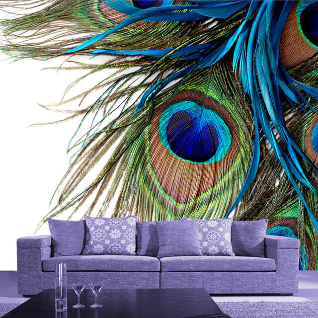High Quality Custom Mural Wallpaper 3D Blue Peacock Feather Large Wall Painting Modern Living Room Bedroom