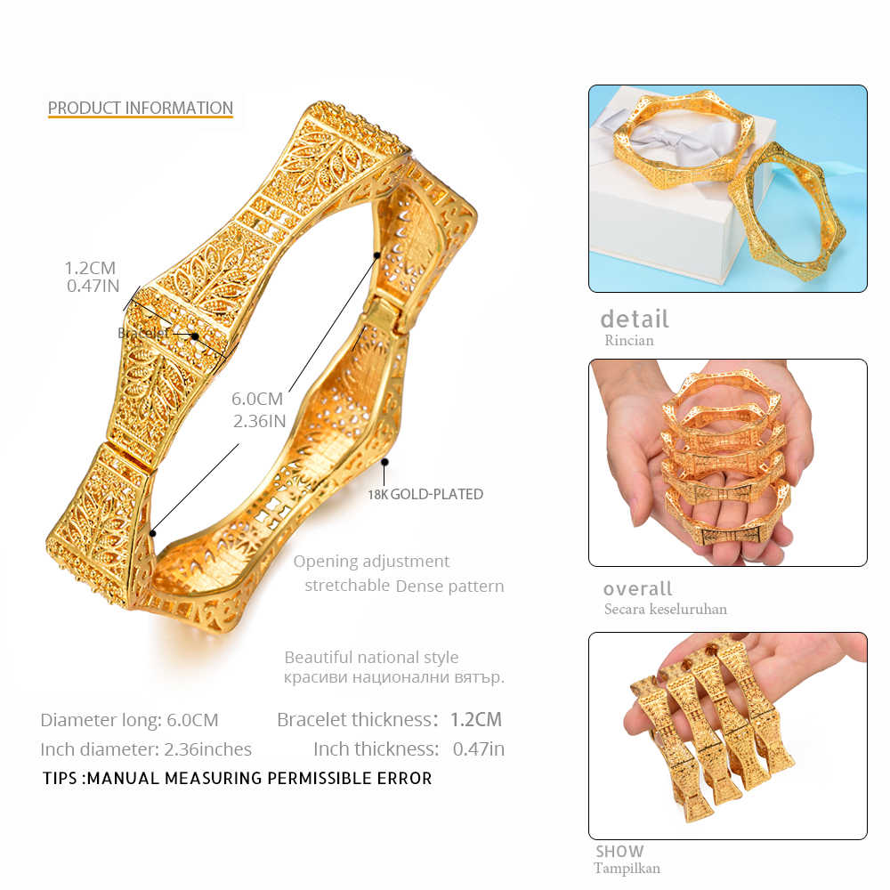 WANDO 2pcs/lot Geometric Polygon Bracelet Ethiopian Gold colour Open Cuff leaves Bangle Jewelry Dubai Bride Wedding Gift b151